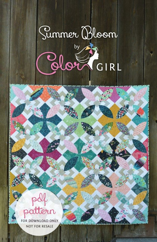 Summer Bloom quilt pattern by Color Girl, curved piecing modern quilt