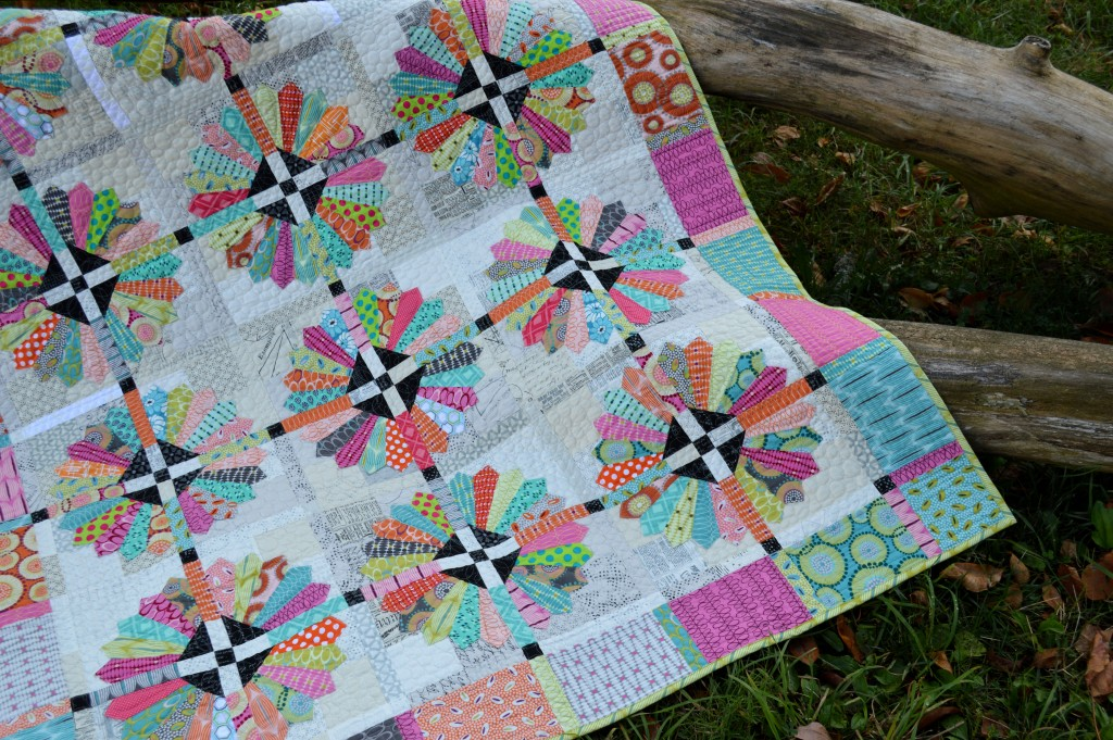 Sunday Best quilt pattern with dresden plate quilt block and Moda Fabrics by Zen Chic
