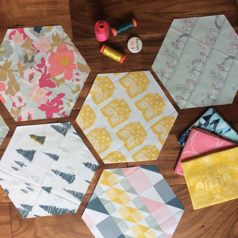 Hexagon quilt blocks with Heartland fabrics by Pat Bravo Art Gallery Fabrics