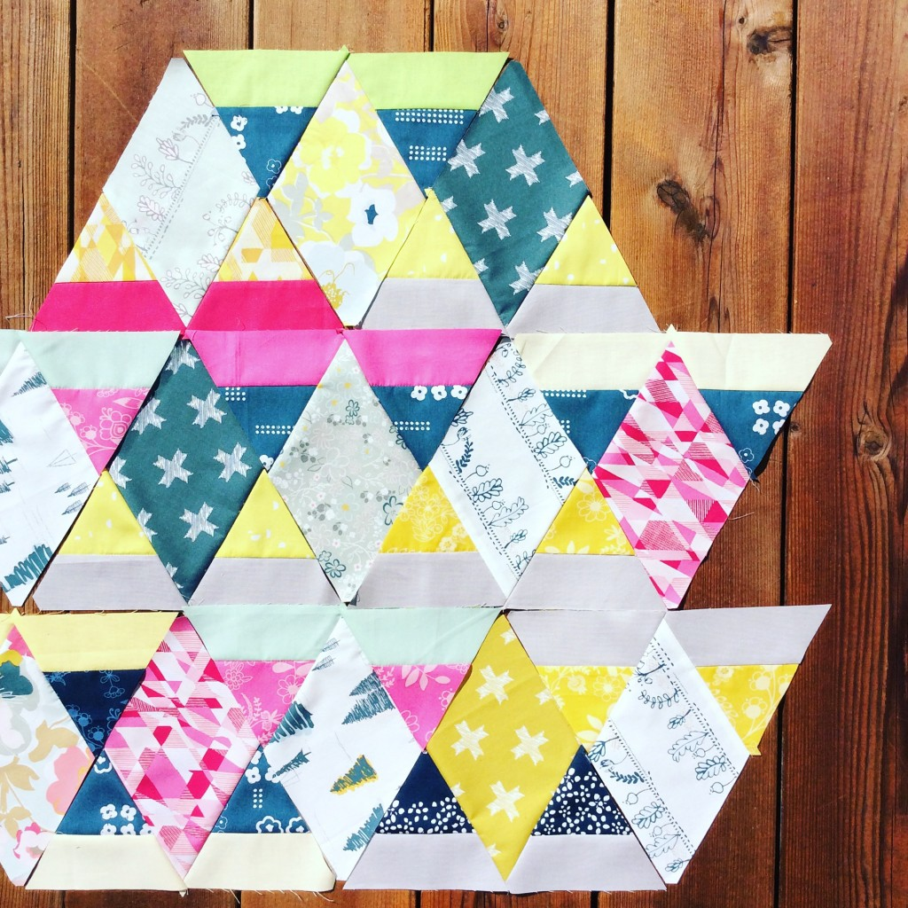diamond and triangle quilt blocks with Heartland fabrics by Pat Bravo Art Gallery Fabrics