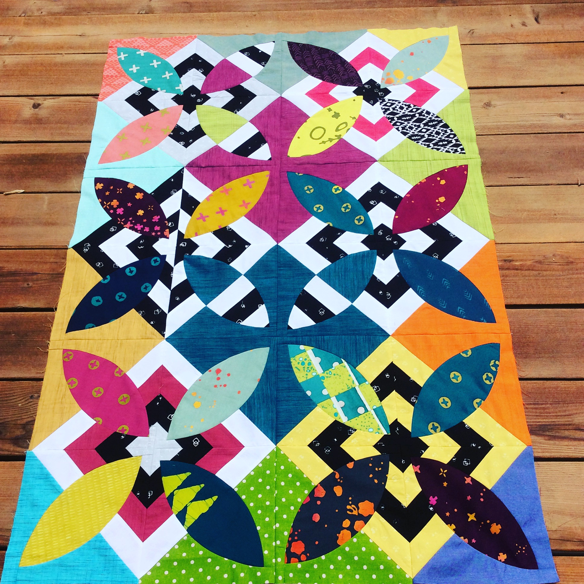 Summer Bloom quilt in progress by Sharon McConnell