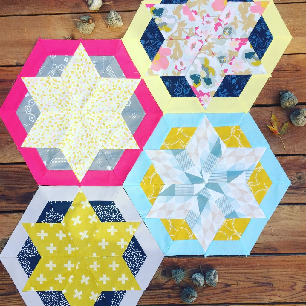 hexagon star quilt blocks with Heartland fabrics by Art Gallery Fabrics