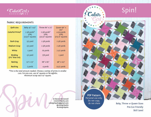 spin star quilt sold by Color Girl Quilts