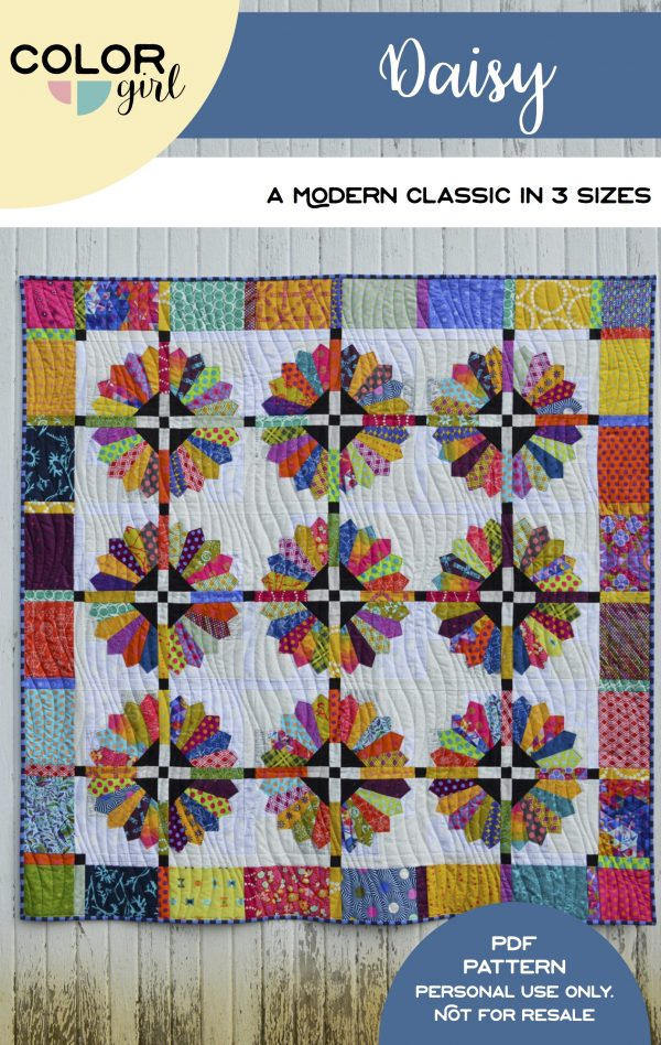 Daisy quilt pattern cover, modern dresden quilt with scraps and bright color by Sharon McConnell Color Girl Quilts