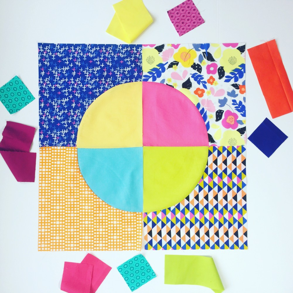 Drunkard's path quilt block with bright colors, modern traditional quilting