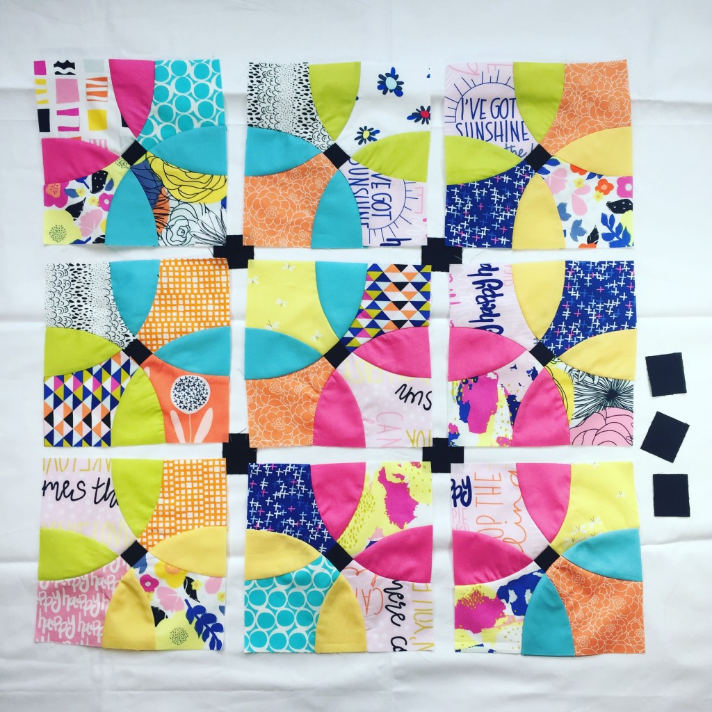 Flowering Snowball quilt block with Art Gallery Fabrics, modern traditional patchwork