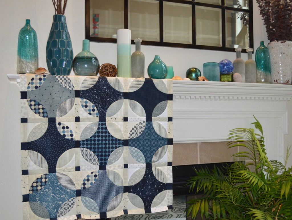 indigo quilt design by Sharon McConnell with curved piecing and Moda Fabrics