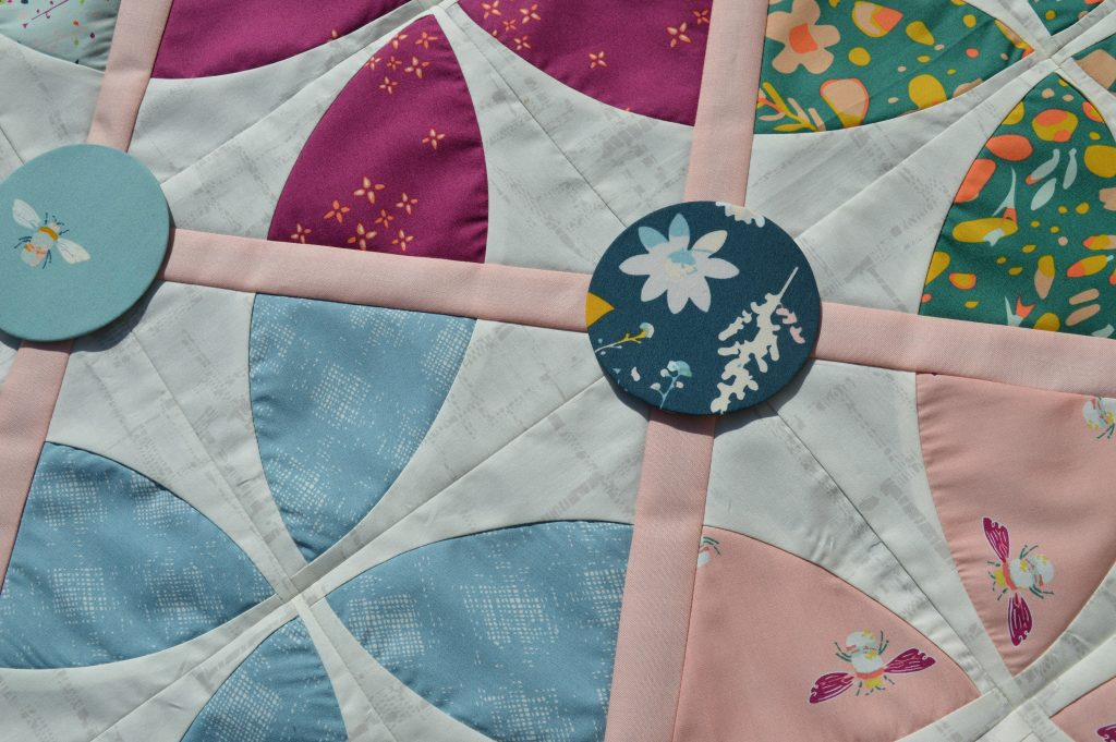Whimsy Garden quilt pattern by Color Girl with Art Gallery fabrics and aurifil thread