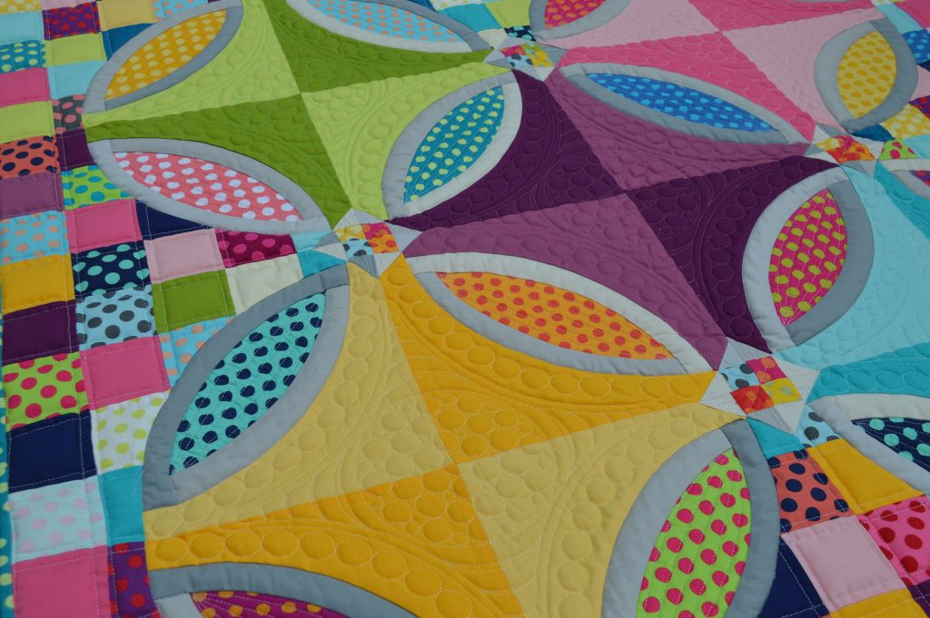 Polka Dot Bikini Quilt. Pattern by Color Girl Quilt Sharon McConnell. with Kona Cotton Solids by Robert Kaufman
