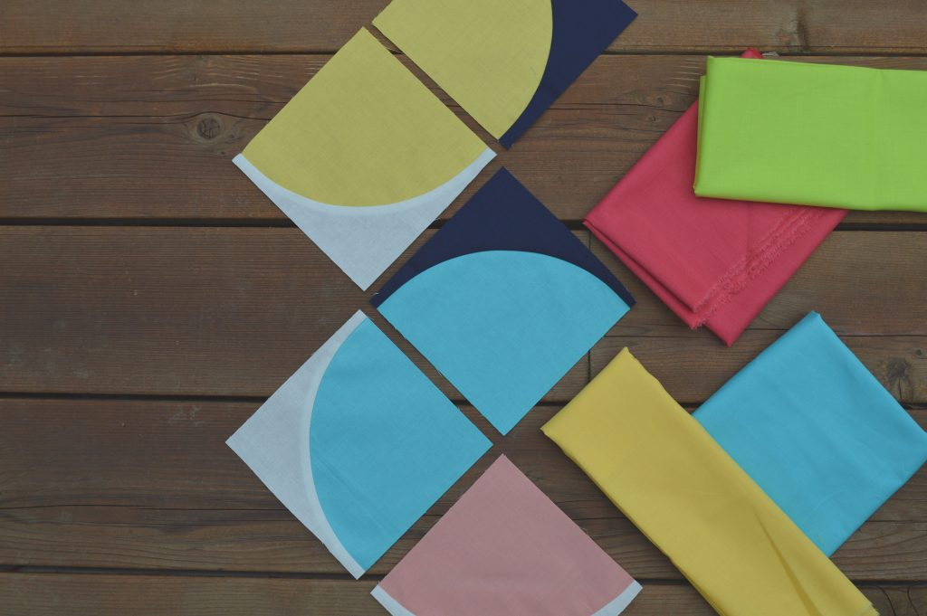 Choosing color, drunkard's path quilt, curved piecing quilt with cotton supreme solids by RJR fabrics