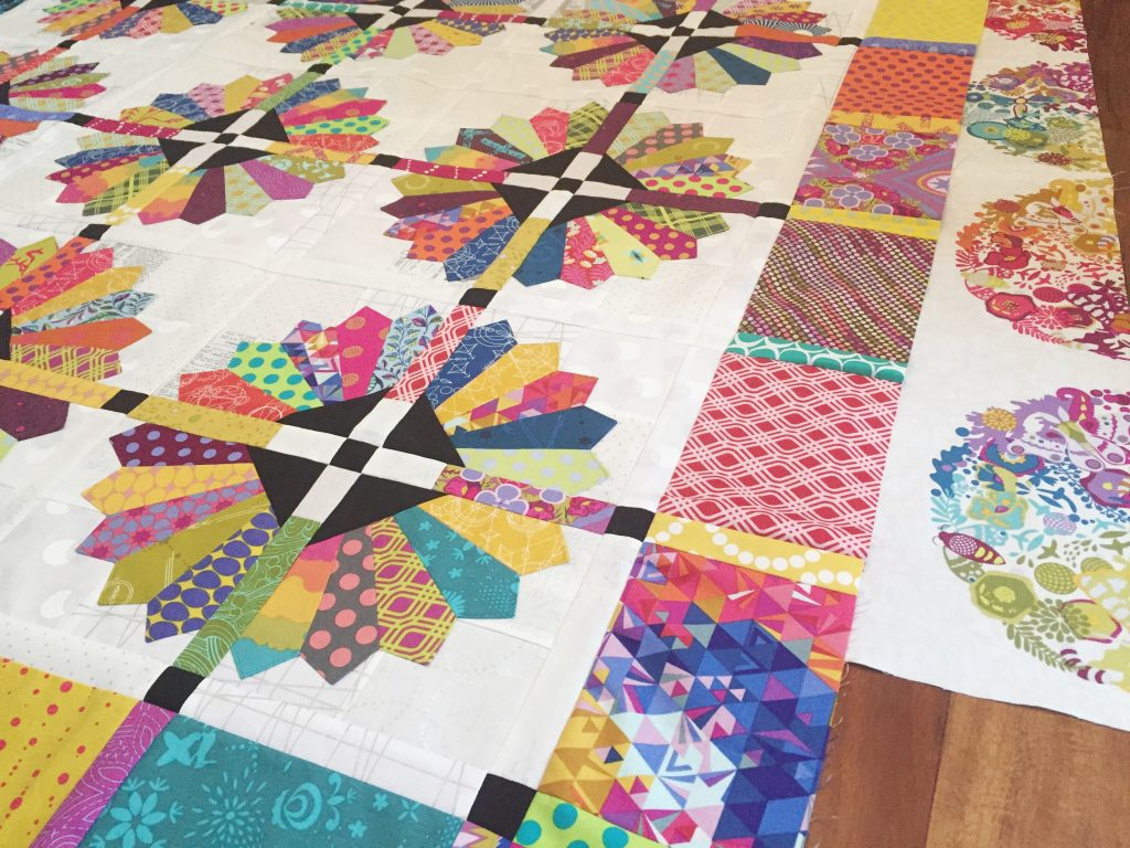 Daisy Quilt, dresden plate quilt by Color Girl quilts with Alison Glass fabrics