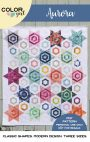 Aurora quilt pattern cover, modern hexagon star patchwork quilt by Color Girl Sharon McConnell