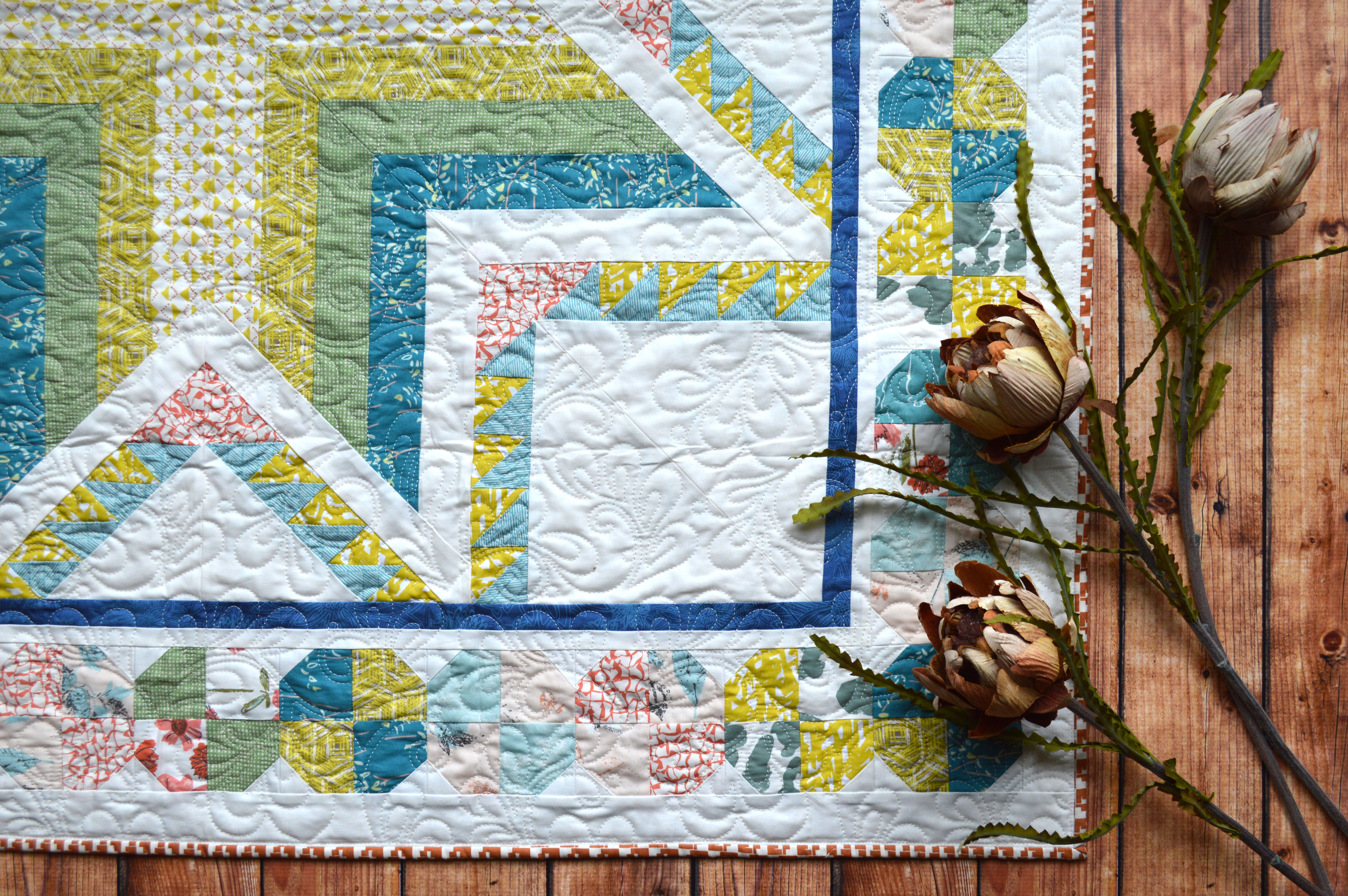 Pixie medallion quilt star with Bountiful fabrics by Art Gallery Fabrics