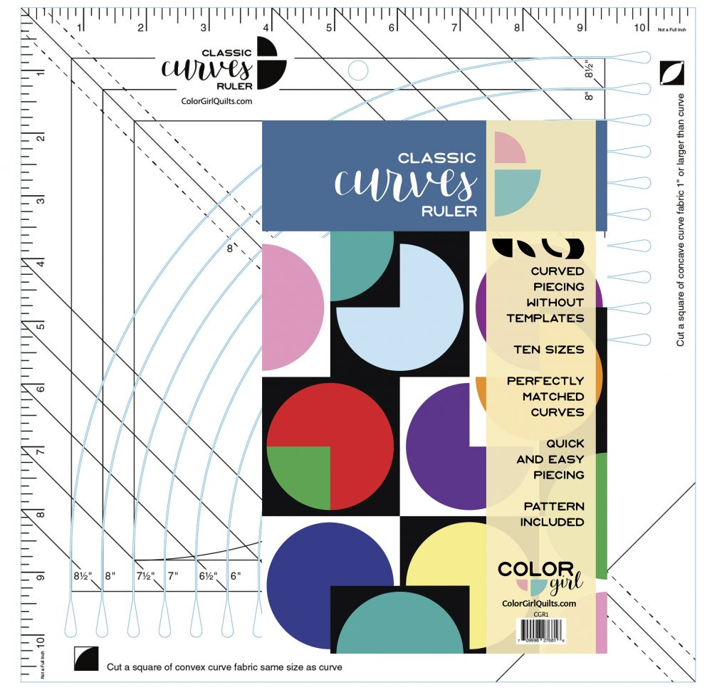 Classic Curves Ruler by Color Girl, modern and traditional curved piecing made easy