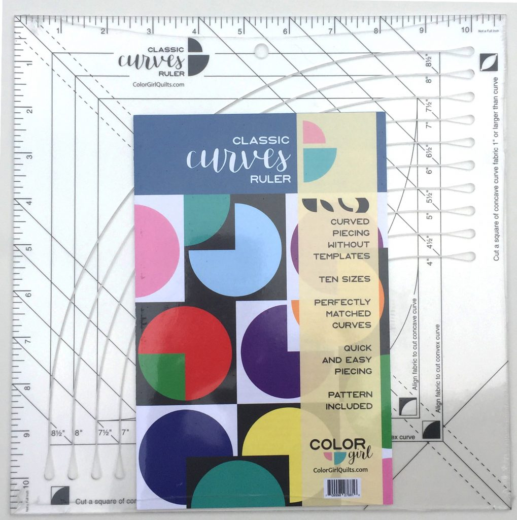 Classic Curves Ruler by color girl quilts Sharon McConnell, quilting ruler for curved piecing