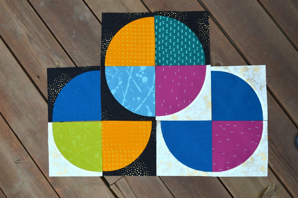 Drunkards path quilt blocks, modern curved piecing quilt with batik fabrics