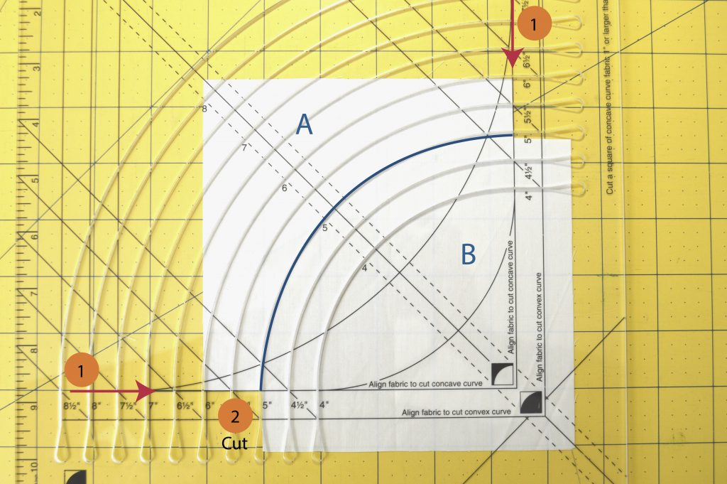 Curved piecing cutting tutorial with the Classic Curves Ruler by Color Girl Quilts