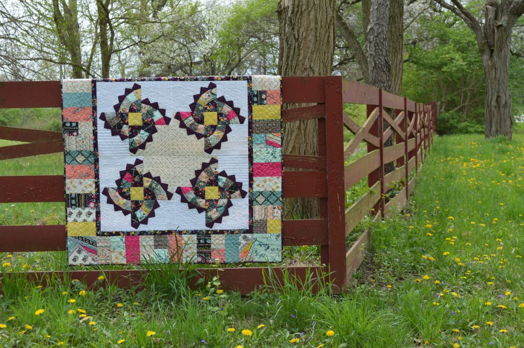 Twirling Fans quilt pattern by Color Girl Quilts, with Indie Boheme fabrics by Pat Bravo for Art Gallery Fabrics