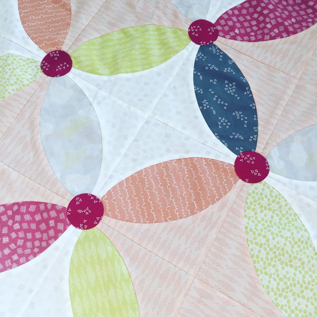 Picnic Quilt with Improv Fabrics by Benartex Fabrics. Pattern by Sharon McConnell with Classic Curves Ruler