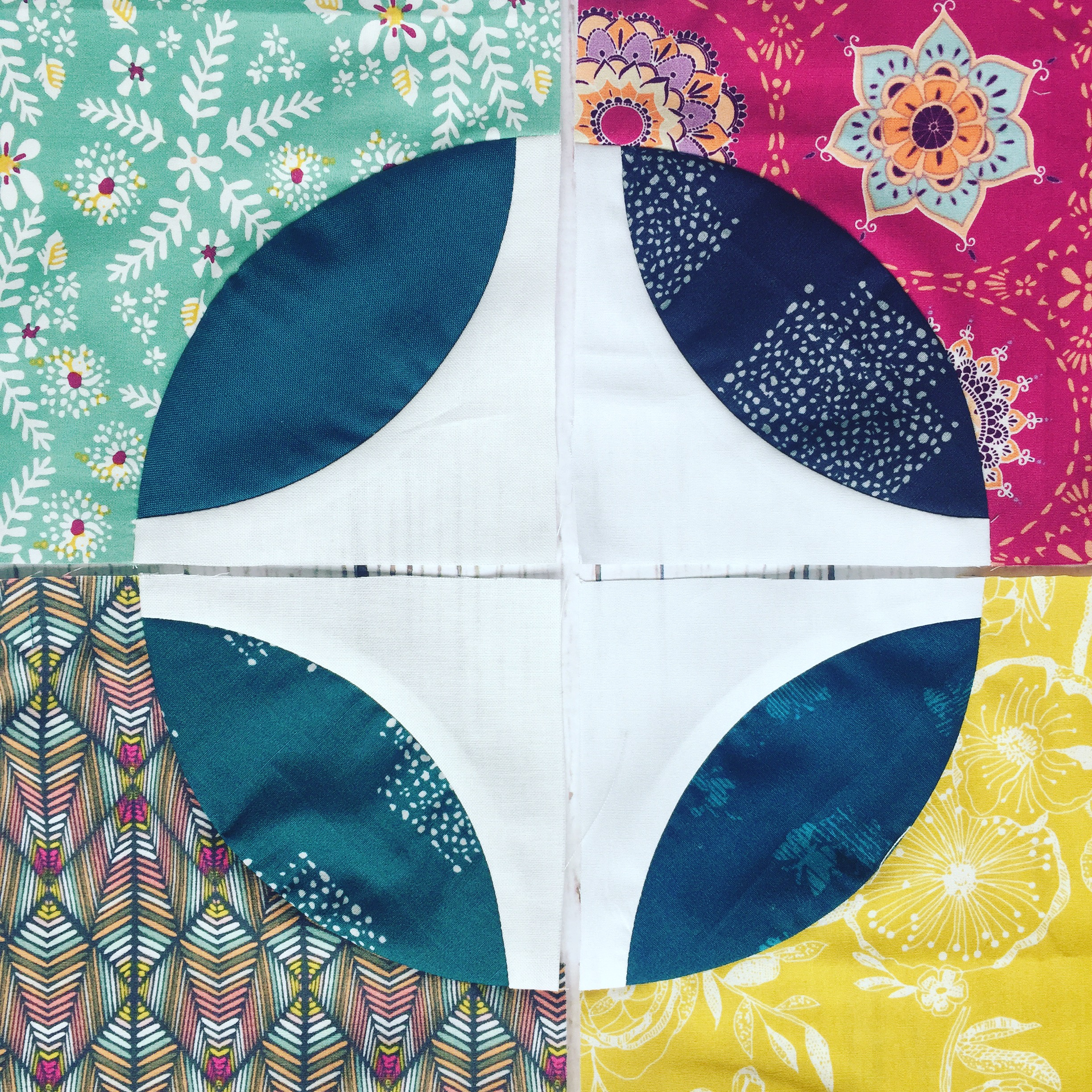 Curved piecing quilt with the Classic Curves Ruler by Color Girl Quilts, with art gallery fabrics