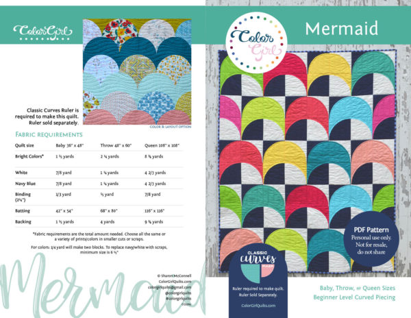 mermaid quilt pattern by color girl quilts