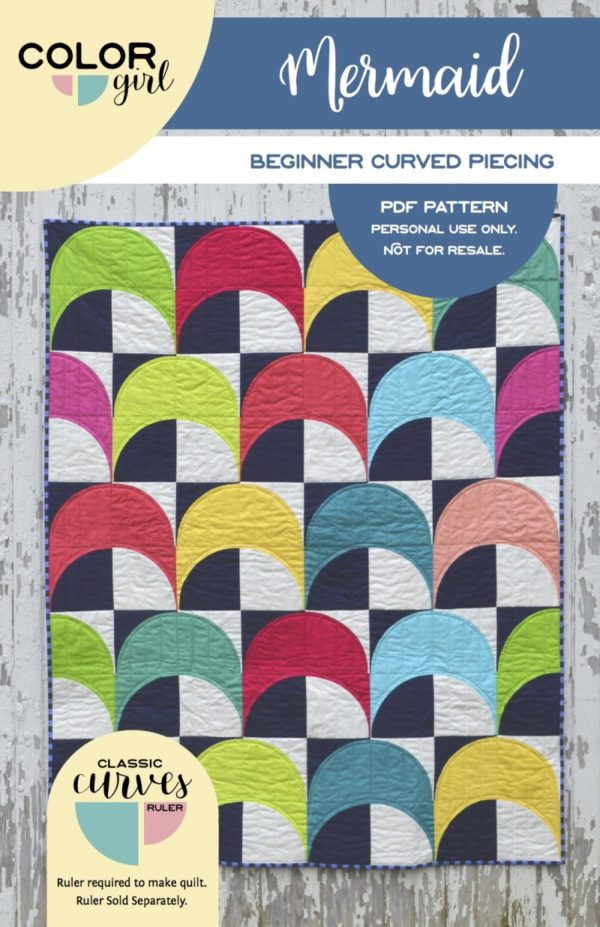 Mermaid quilt pattern, modern curved piecing with classic curves ruler by Sharon McConnell Color Girl quilts