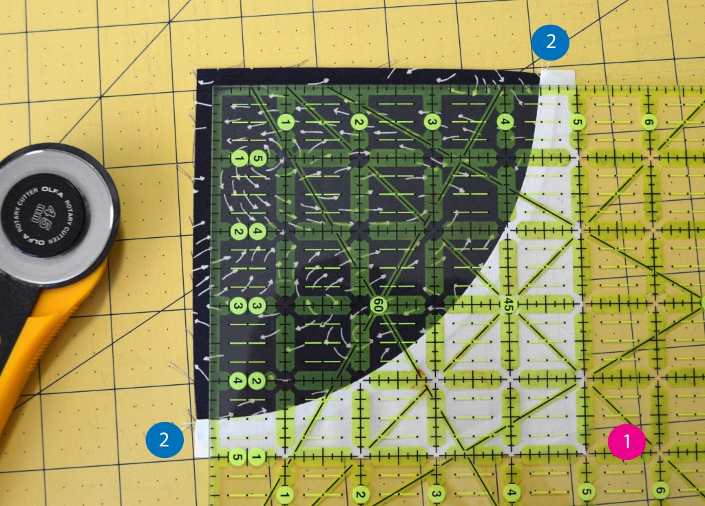 squaring up a quilt block, trimming a curved piecing quilt block by Color Girl Quilts