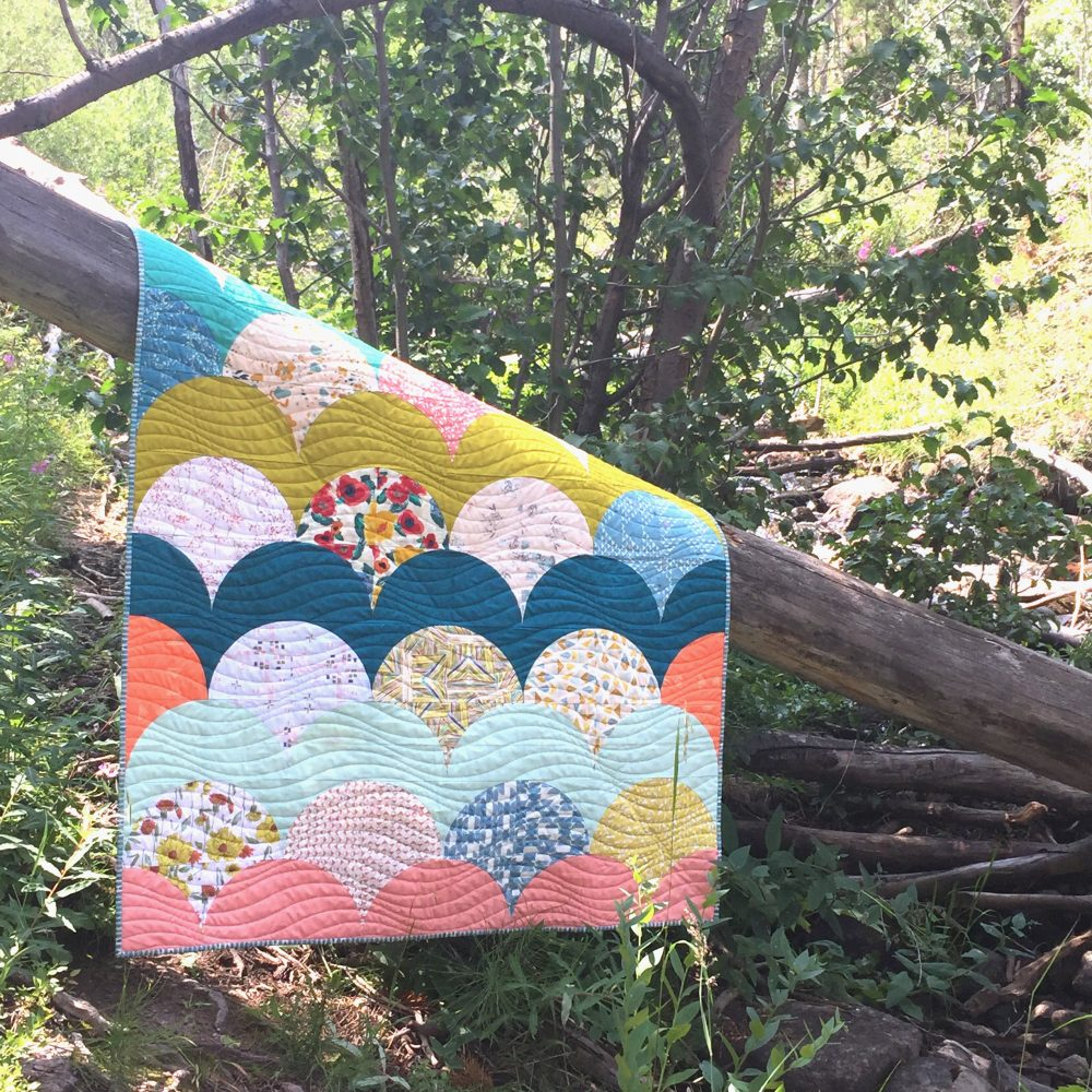 Mermaid quilt pattern with curved piecing using the Classic Curves Ruler by Color Girl quilts