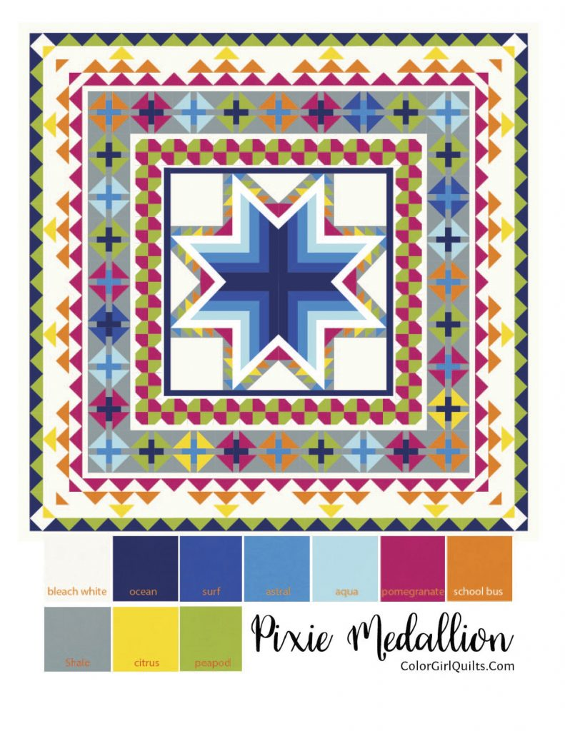 Pixie Medallion quilt pattern by Color Girl quilts in primary colors, Kona cotton solids
