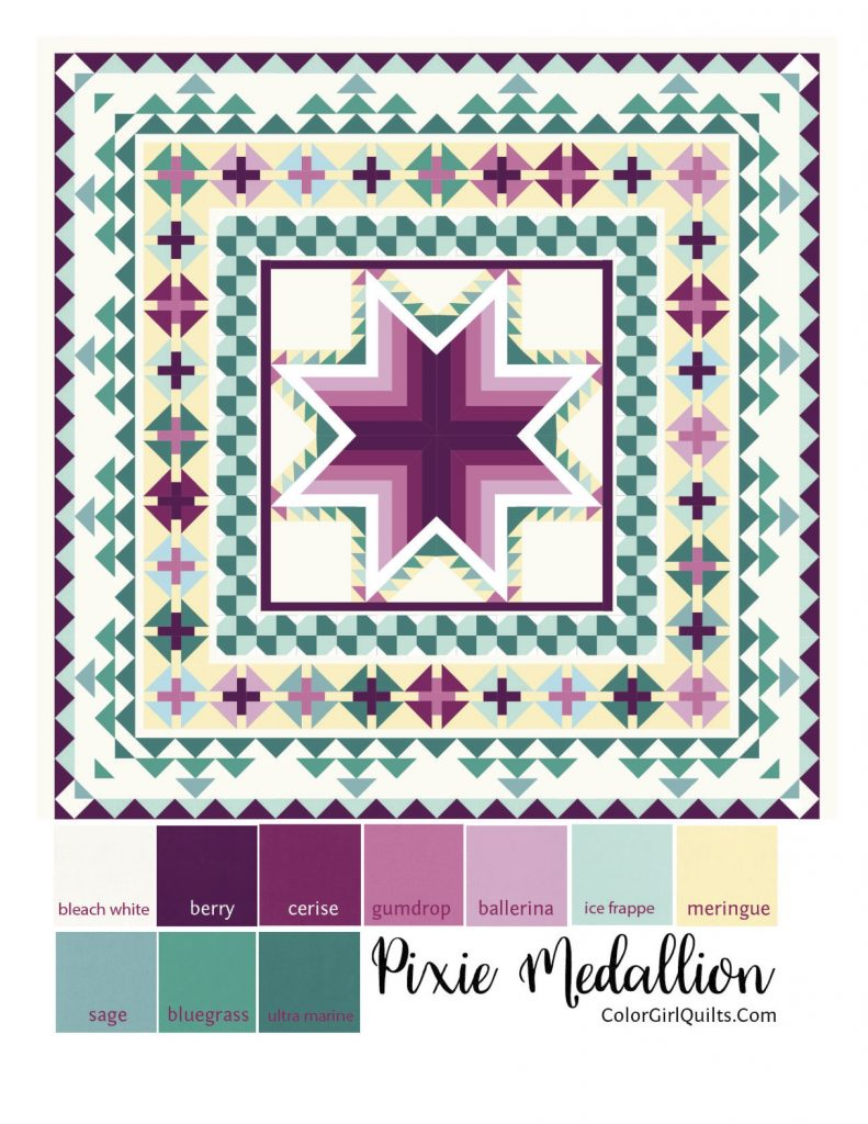 Pixie Medallion quilt pattern by Color Girl quilts in blueberry colors, Kona cotton solids