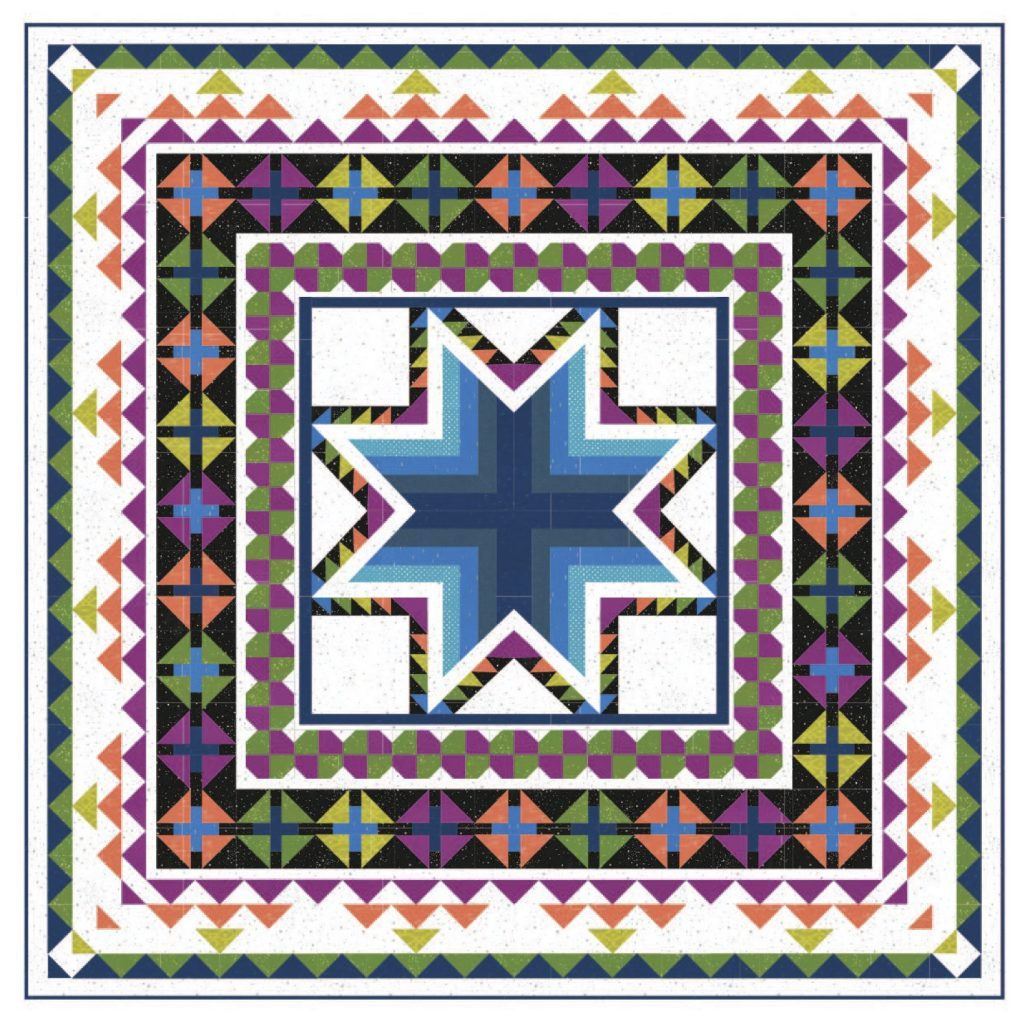 Pixie Medallion quilt pattern by Color Girl quilts in Indah batiks by Hoffman Fabrics