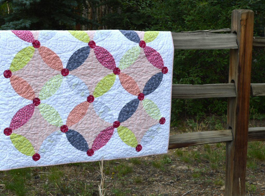 Picnic Quilt pattern by Color Girl, curved piecing quilt with the Classic Curves Ruler. Modern Orange Peel quilt