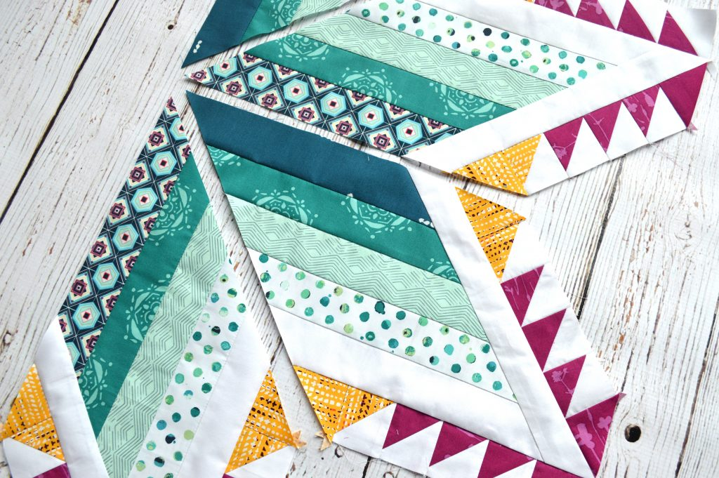 Pixie Medallion quilt pattern, sewing the center feather star quilt block with Art Gallery Fabrics