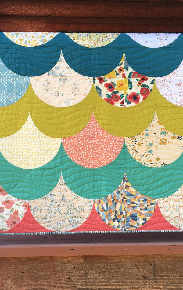 Mermaid quilt pattern by Color Girl quilts, with the Classic Curves Ruler, modern curved piecing quilt with Art Gallery Fabrics