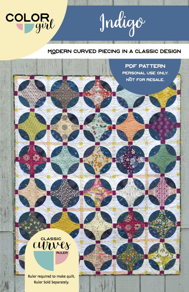Indigo quilt pattern, with curved piecing using the Classic Curves Ruler by Color Girl Quilts