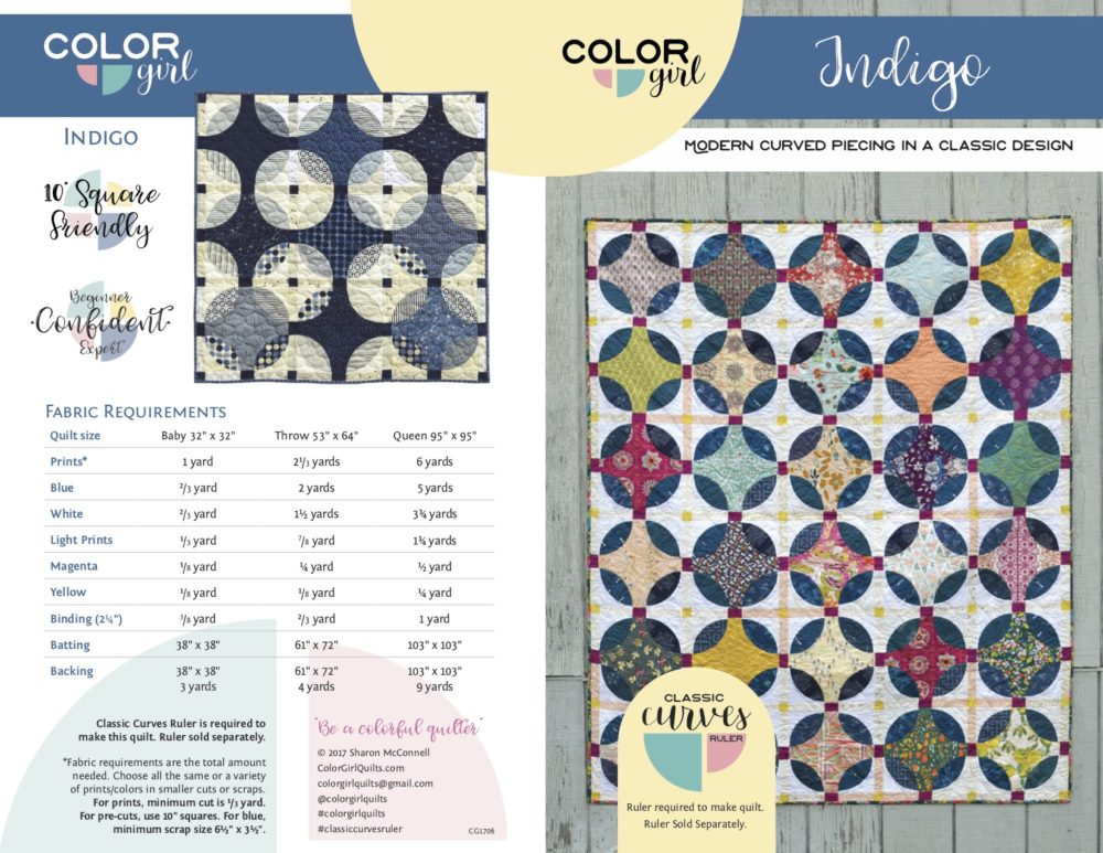 Indigo quilt pattern by Color Girl Quilts, Curved piecing with the Classic Curves Ruler