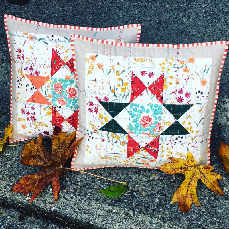handmade pillows by Lady K Quilts with Art Gallery Fabrics