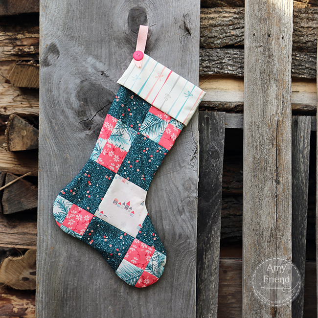 handmade stocking made by Amy Friend with Art Gallery fAbrics