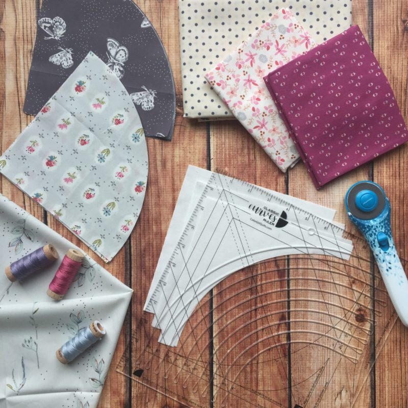 Classic Curves Ruler with Art Gallery Fabrics and Aurifil thread