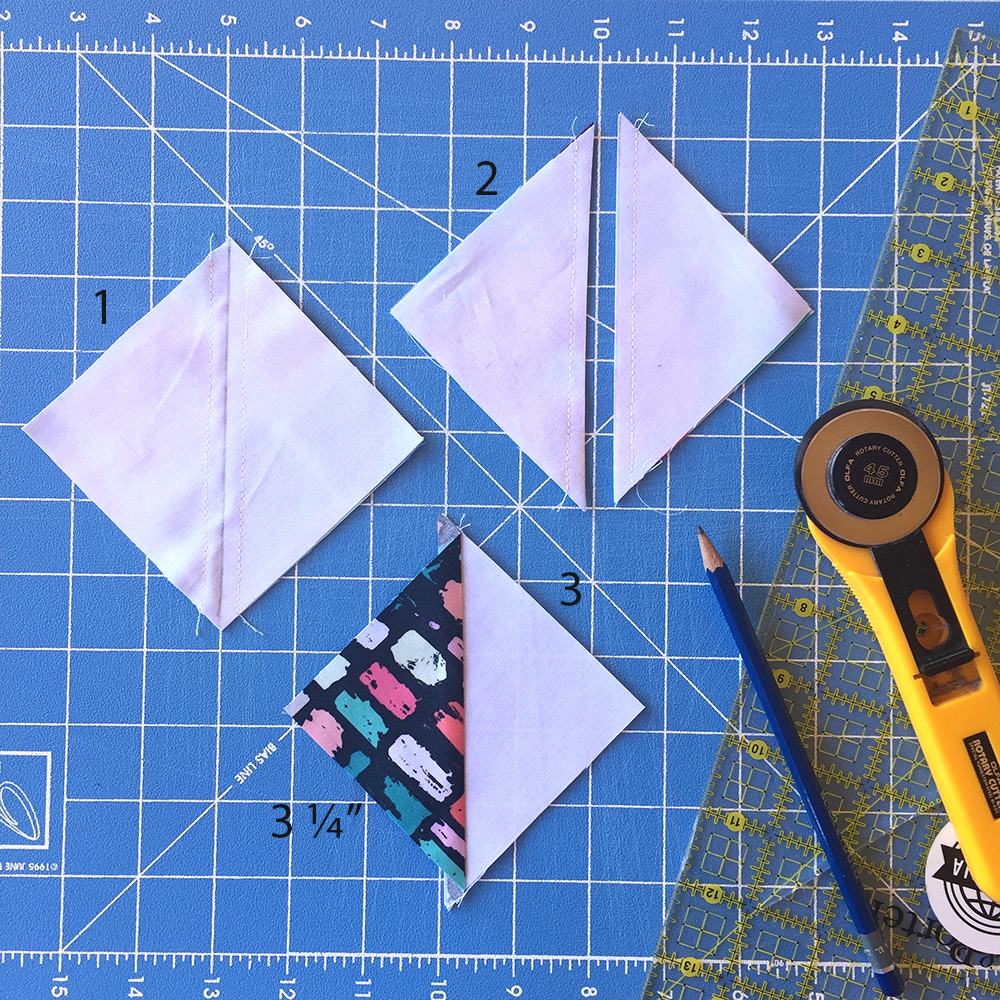 how to sew half square triangles for quilt without bias edges