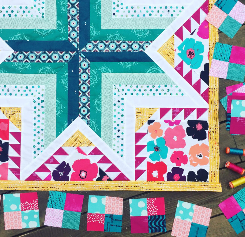Pixie medallion quilt, quilt along progress: adding the first border. With Art gallery Fabrics