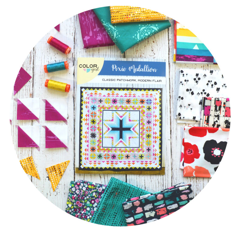 Pixie Medallion Quilt pattern by Color Girl Quilts. Quilt Along