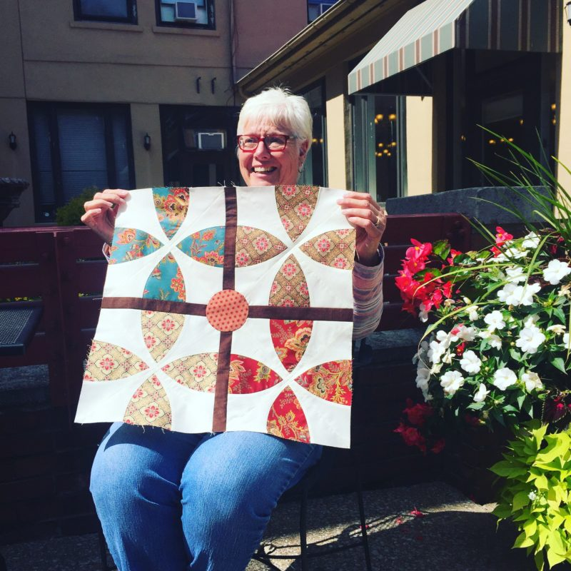 Sue and her Whimsy Garden quilt block, pattern by Color Girl Quilts