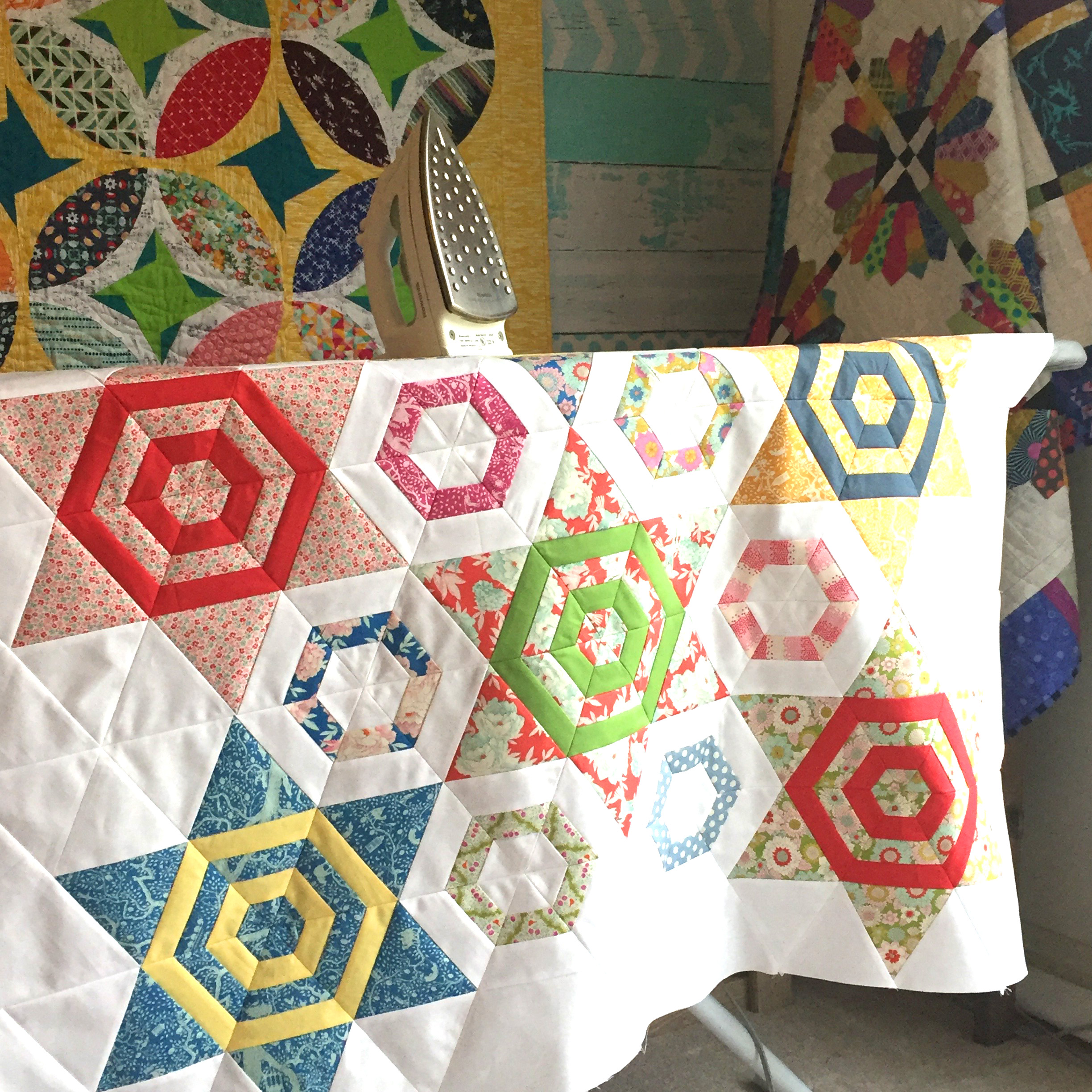 Aurora Quilt pattern by Color Girl, made with Tilda Lemon Tree fabrics