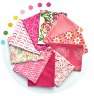 Pink fat quarter bundle, fabrics by Art Gallery Fabrics, sold by Color Girl quilts