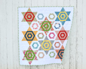 Aurora Quilt pattern by Color girl quilts with Tilda Lemon Tree fabrics