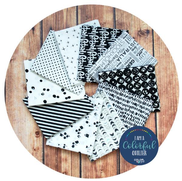 black and white fabric prints bundle sold by Color Girl Quilts