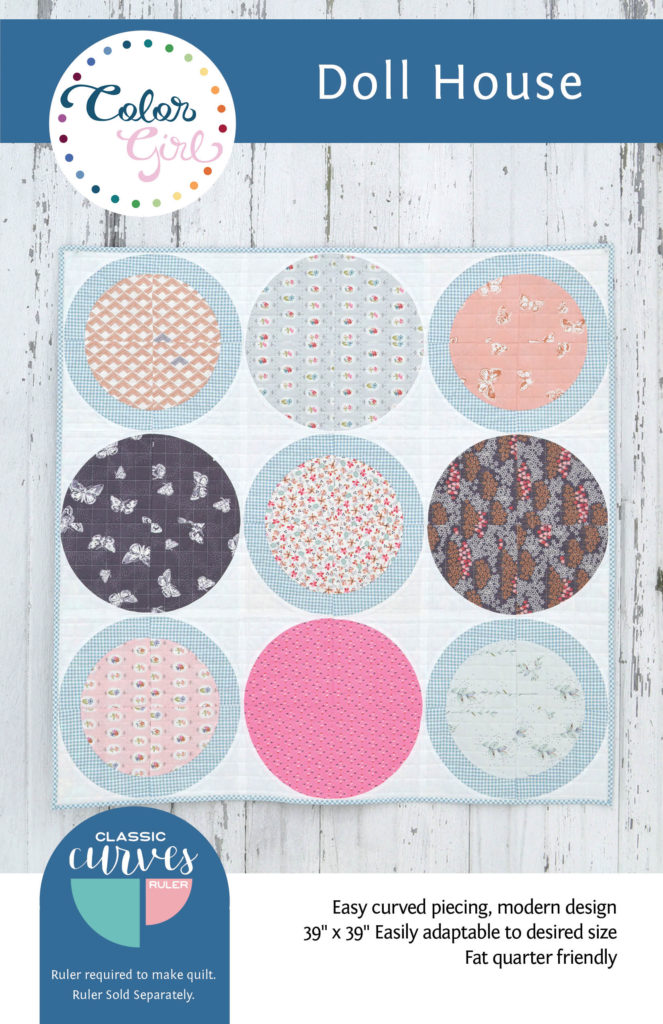 free pattern with curved piecing for the Classic Curves Ruler Dollhouse quilt pattern by Color Girl quilts