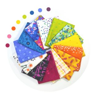 Sew Colorful Bright colors fat quarter bundle. mixed fabrics for quilting