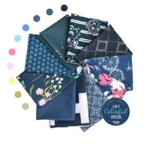 indigo fabric bundle for quilters, fabric from Art Gallery Fabrics sold by Color Girl quilts